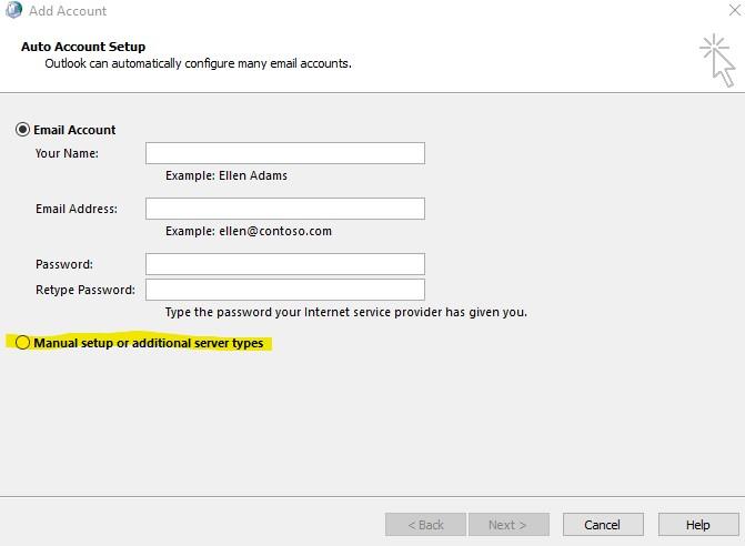 manual setup of username Outlook 2016 / 365