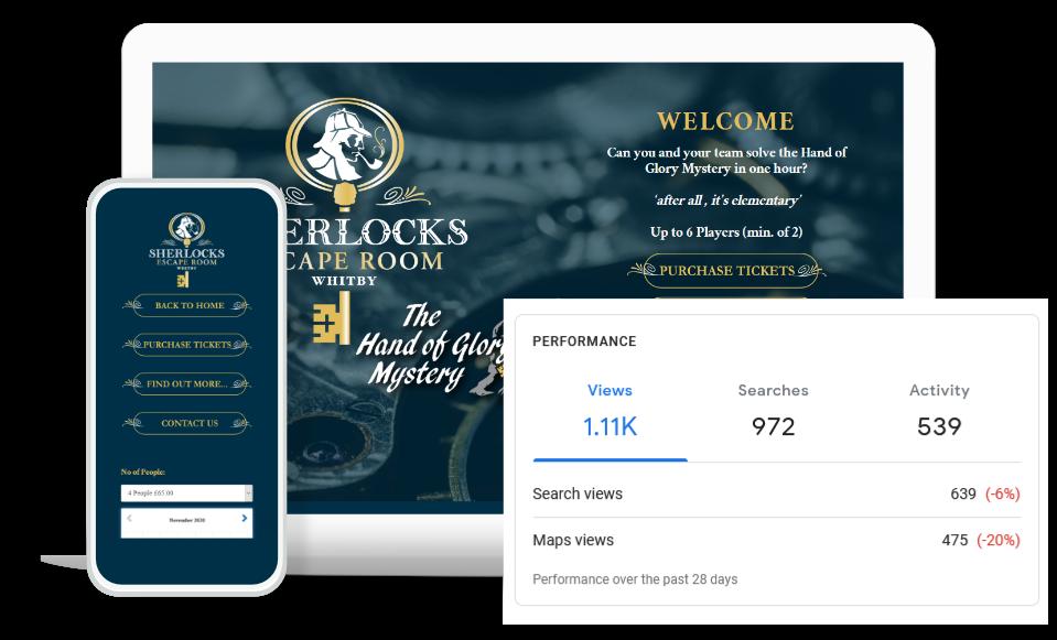 Sherlocks Whitby Website Design